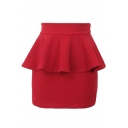 Bright Candy Color Plain Peplum Mini Skirt