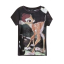 Burnout Style Cute Deer Print T-Shirt