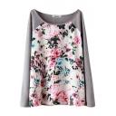 Gray Background Raglan Sleeve Flower Print Knitted Sweater