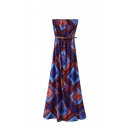 Blue&Orange Geometric-Tribal Pattern Print Strapless Dress with Belt