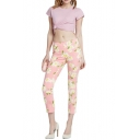 Chrysanthemum Print Skinny Fitted Crop Pants