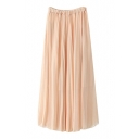 Plain High Waist Elastic Waist Pleated Max Skirt
