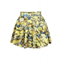 Hot Mr Minions Print High Waist Pleated Mini Skirt