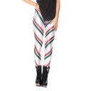 Green-Red-White Stripes Elastic Waist Skinny Leggings