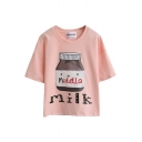 Milk Bottle Print Round Neck Short Sleeve Top
