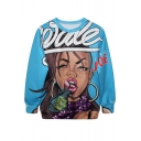 Funk Comics Girl&Letter Print Blue Sweatshirt