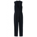Dark Blue Surplice Neck Sleeveless Lapel Longline Elastic Waist Jumpsuit