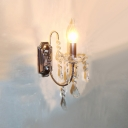 Stunning Electroplated Chrome and Crystal Accents Add Charm to Single Light Wall Sconce