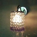 4'' Width Crystal Style One Light Wall Sconce Features Electroplated Chrome Finish and Crystal Falls