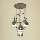 Five Light Down Lighting Chrome Aluminum Brilliant Design Multi-light Pendant Modern Style