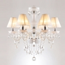 Warm and LavishSix Lights Traditional Crystal Accent Fabric Shade Glass Tube Chandelier