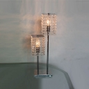 Distinctive High-low Two-light Table Lamp Adorned with Beautiful Clear Strands of Crystal Beads and Sleek Chrome Finish