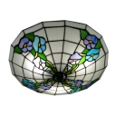 Botanic Motif Three Lights Tiffany Glass Shades Flush Mount Ceiling Light