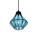 Blue Tiffany Glass Shade Single Light 8 Inches Wide Mini Pendant Light