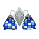 Blue and White Grid Pattern Glass Shades White Finish Tiffany Bathroom Lighting