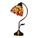 Flower Pattern Natural Shell Shade Curly Arm Tiffany Bedroom Accent Lamp