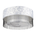 Delicate Leaves Patterned White Shade Add Glamour to Delightgul Four Light Flush Mount Ceiling Light