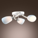 Elegant Three Lights Flush Ceiling Light Features Blue Glass Shades and Clear Crystal Ball