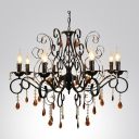 Amber Crytsal Droplets Clear Crystal Beads Scroll Arms Black Traditional Chandelier