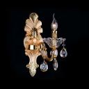 Luxury Gold Back Plate Pairs with Champagne Crystal Droplets Two Light Wall Sconce