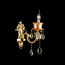 Beautiful Gold Wall Light Fixture Featured Delicate Strolling Arm and Lead Crystal Droplets