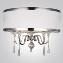 Contemporary Drum Shade Clear Crystal Spheres and Droplets Pendant Chandelier