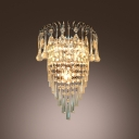 Daring Wall Sconce Features Chrome Finish Frame  and Rainfall of Crystal Beads