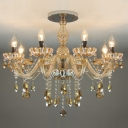 Amber Crystal Warm and Elegant Chandelier with 8 Candle Lights