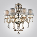Silver Mist Bell Shades Gorgeous Amber Crystal 5-Light Warm and Charming Chandelier
