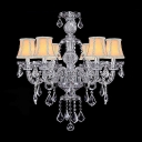 Romantic and Elegant Ivory Fabric Bell Shades and Clear Crystal Traditional Chandelier