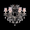 Traditional Chandelier with Crystals and Fabric Shades Add a Romantic Style to Your Decor