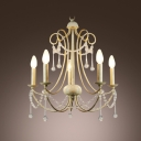 Beauty and Elegance Define Wonderful Grand Chandelier with Draped Crystal and Six Candelabra Lights