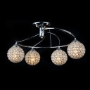 Swirling Chrome Finished Frame Crystal Beaded Globe Shade Semi-Flush Mount Ceiling Light