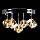 Impressive Round Semi-flush Ceiling Light Adorned with Sparkling Square and Rectangle Faceted Clear Crystal