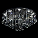 Round Elegant Crystal Rain Flush Mount Light in Chrome Finish and 15.3