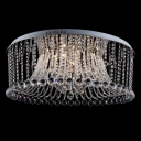 Intriguing and Bold All Crystal Beads and Balls Water falling Chrome Finished Flush Mount
