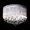 Brilliant Design Silken Drum Shade Gorgeous Crystal Raindrops Falling 6-Light Flush Mount