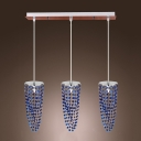 Elegant Strands of Blue Crystal Beads Add Charm to Smashing Multi-Light Pendant