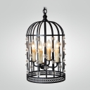 Black Rustic Iron 4-Light Bird Cage Shaped 21.6