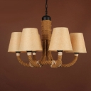 Fabric Shades and Rope 6-Light Industrial Country Chandelier Pendant Light
