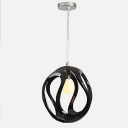 Round Black One-light Unique Resin  Suspension Pendant