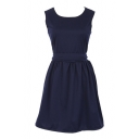 Elegant Plain Round Neck Ruffle Hem Buttons Back Dress