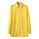 Lapel Midi Chiffon Shirt in Yellow