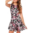 Vintage All Over Rose Print Mermaid Hem Sleeveless Mini Dress
