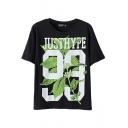 Letter Green Leaf Print Round Neck Short Sleeve Black T-Shirt