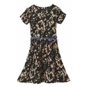 Floral Print Short Sleeve Belted Pleated Dress