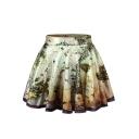 Vintage Map Print Skater Skirt