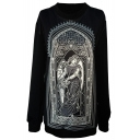 Goddess&Church Print Black Sweatshirt