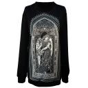 Goddess&Church Print Black Sweatshirt