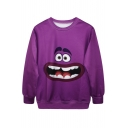 Funny Cartoon Character Print Purple Sweatshirt